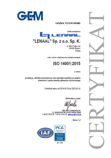 System Zarządzania Środowiskowego ISO 14001:2015
